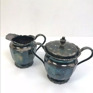 Other - Vintage Patina Cream and Sugar Silver Plate
